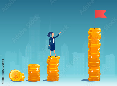 Slika na platnu Vector of a business woman standing on a growing up stack of coins thinking how