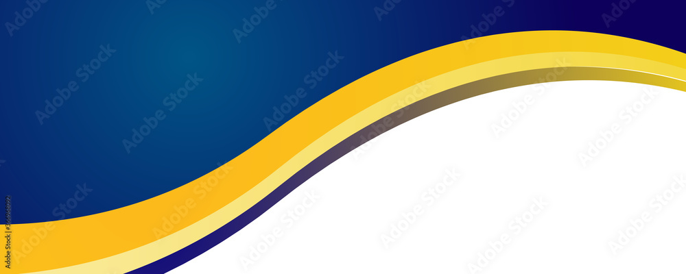 Fototapeta Abstract bright blue and yellow white curve wave business banner background