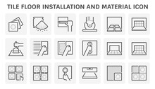 Tile Floor Installation And Material Vector Icon Set Design.