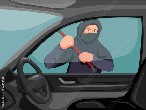 Thieft holding crowbar trying to break window car Wallpaper Mural