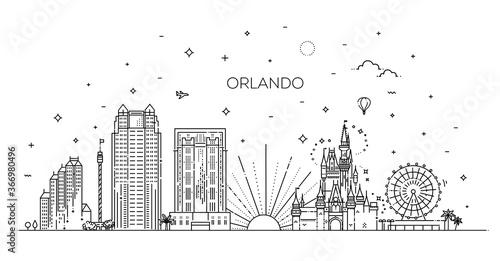 Fényképezés Florida. Linear banner of Orlando city