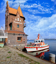 The Harbor Master House (old Pilot House Or Lotsenhaus) And A Docket Boat
