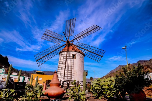 Stampa su Tela Vintage Wind Mill in Gran Canaria Canary Islands Spain