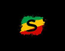 S Letter Logo In Square Grunge...