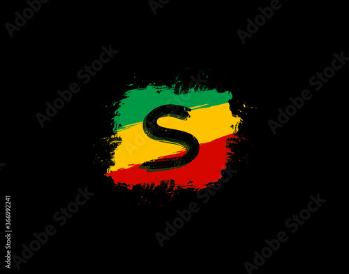 Photo S Letter Logo In Square Grunge Shape With Splatter and Rasta Color