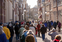 Hoorn, Netherlands;  Crowds Of Mostly Local People Walking The Streets Of Downtown Hoorn