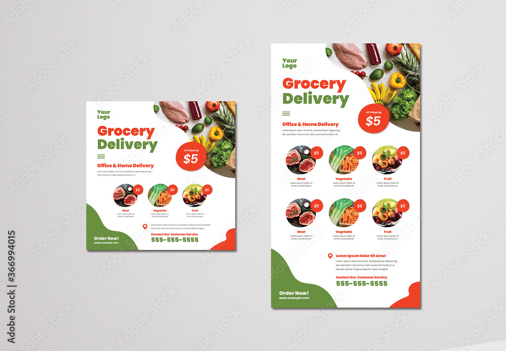 Fototapeta Grocery Delivery Social Media Layouts
