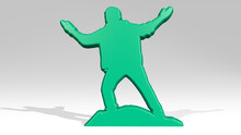 MAN OVER HILL WITH VICTORY Stand With Shadow. 3D Illustration Of Metallic Sculpture Over A White Background With Mild Texture. Landscape And Beautiful