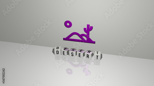 3D representation of DESERT with icon on the wall and text arranged by metallic cubic letters on a mirror floor for concept meaning and slideshow presentation Wallpaper Mural