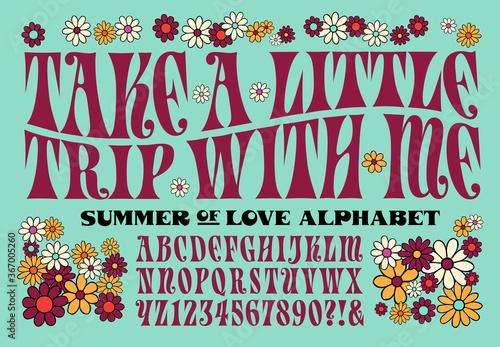 Psychedelic 1960s Style Hippie Alphabet фототапет