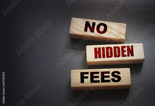 Fotomural No hidden fees word on wood blocks