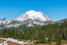Mount Rainier East Face Close-up  In July