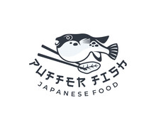 Puffer Fish And Chopsticks, Japanese Food, Logo Design. Fish, Animal, Food And Restaurant, Vector Design And Illustration
