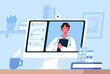 Online medical consultation, support. Online doctor. Healthcare services. Family male doctor with stethoscope on the computer screen. Vector illustration for websites landing page templates.
