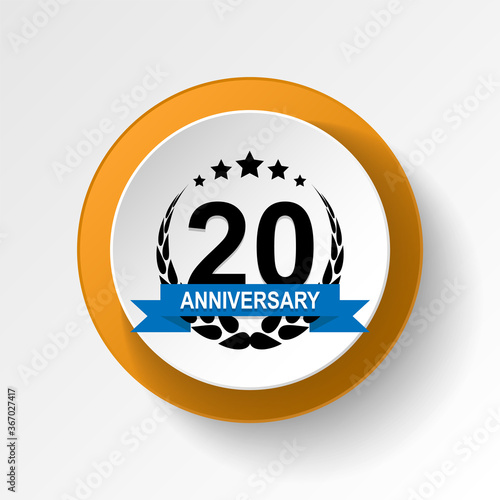 Anniversary, 20 years multicolored icon button Canvas Print