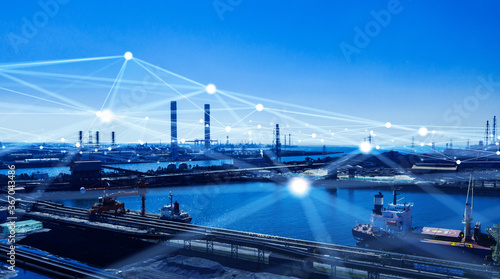 Obraz 産業とネットワーク ICT IoT 5G - fototapety do salonu