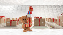Teddy Bear With Christmas Presents And Snow. Christmas Gifts And Cute Teddy Bear 3d-illustration