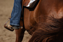 Close-up Of Booted Foot In A Stirrup