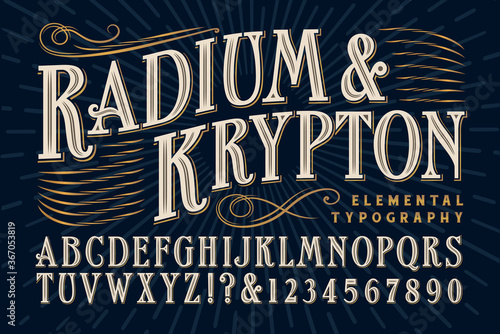 An Elegant Serif Alphabet that Exudes Old World Refinement and Luxury, and Would be Appropriate for product banding, alcohol bottles and custom packaging Wallpaper Mural