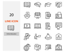 Set Of Online Education Icons, Study Form Home