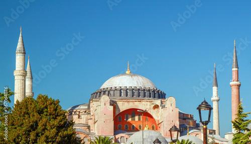 Obraz na plátne Hagia Sophia, a famous sight of Istanbul, sunset view