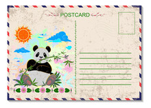 Travel Postcard With Postage S...