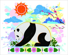 A Resting Panda Soaking Up The Sun Surrounded By Clouds, Cherry Blossom And Lotus Decorations In Chinese And Tibetan Style. Design Of Hoodies, Sweatshirts, Bags, Bags, Notebooks