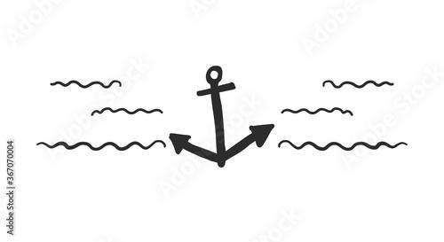 Valokuva Horizontal waves and anchor icon