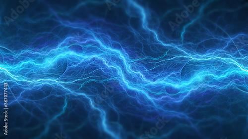 Blue abstract fractal lightning, plasma background Canvas Print