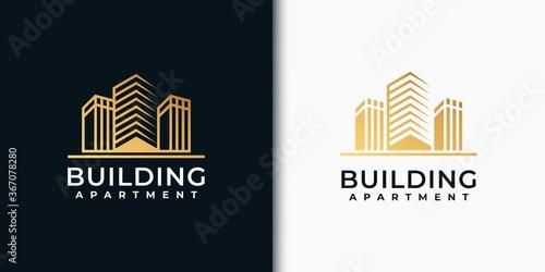 Fényképezés Golden set building logo design inspiration
