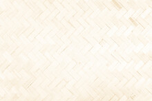 Brown Mat Traditional Handicraft Bamboo Wood Weave Texture Background. Retro Woven Surface Pattern Material For Wall With Antique Blank Furniture Nature Weathered Vintage Empty Cream Wallpaper Board.