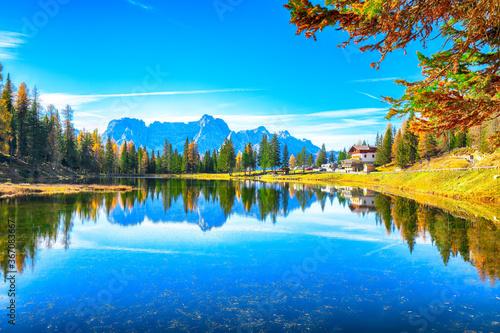 Valokuvatapetti Stunning view of popular travel destination mountain lake Antorno in autumn
