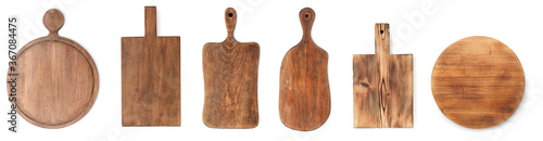 Fotografía Set with different wooden boards on white background, banner design