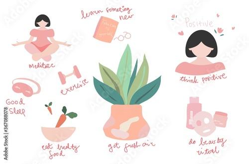 Fototapeta Self-care concept illustration. Flat vector. Hand drew. obraz