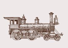 Graphical Vintage Locomotive, Sepia Background,vector  Illustration