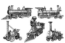 Graphical Set Of Locomotives Isolated On White Background,vector  Illustration