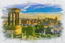 Calton Hill In Edinburgh, Scotland, Watercolor Painting