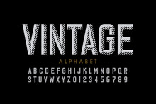Vintage Style Font, Retro Style Alphabet, Letters And Numbers
