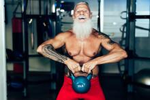 Hipster Senior Man Training In...