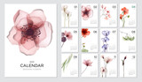 Szablon kalendarza 2021 na motyw botaniczny. Koncepcja projektu kalendarza z abstrakcyjnych kwiatów sezonowych. Zestaw 12 miesięcy 2021 stron. Ilustracji wektorowych