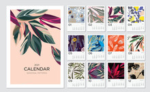 2021 Calendar Template. Calendar Concept Design With Abstract Natural Patterns. Set Of 12 Months 2021 Pages. Vector Illustration