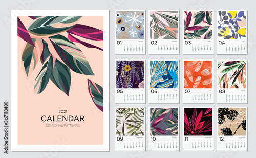 Leinwand Poster 2021 calendar template