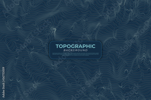 Fotografie, Obraz Topographic Contour Map with Colored Lines and Dark Background