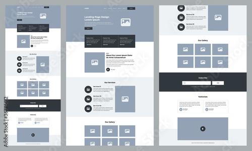 Fotografering One page landing website design template for business