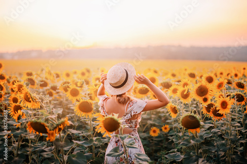 Obraz Beautiful summer nature amazing sunny sunset flowering field. Yellow orange sunflower flowers. Young modern woman turned away, enjoys harmony nature, rural relaxation. Girl touches straw hat on head - fototapety do salonu