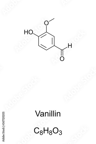 Vanillin, chemical structure and formula Canvas Print