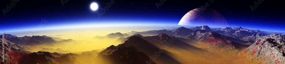 Fototapeta alien landscape, a panorama of a surface of another planet at sunrise, 3d rendering