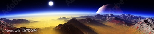 Fototapeta alien landscape, a panorama of a surface of another planet at sunrise, 3d rendering obraz