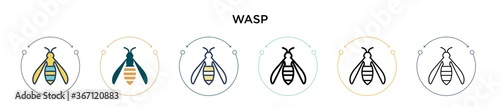 Wasp icon in filled, thin line, outline and stroke style Tapéta, Fotótapéta
