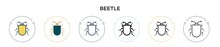 Beetle Icon In Filled, Thin Line, Outline And Stroke Style. Vector Illustration Of Two Colored And Black Beetle Vector Icons Designs Can Be Used For Mobile, Ui, Web